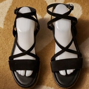 Via Spiga black leather suede sandal